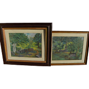 Pair of old pastel landscape paintings each signed with initials
