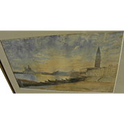 Beautiful vintage Venice Italy panorama impressionist watercolor painting