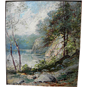 Vintage impressionist landscape of lake and trees