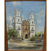 Arizona art impressionist painting of historic San Xavier del Bac church near Tucson