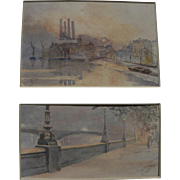 Pair vintage impressionist watercolor paintings of quai in Paris or London signed with monogram