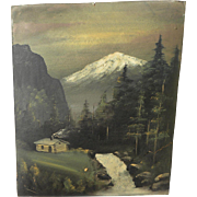 Circa 1920 Cabin art Northern California primitive painting of Mt. Shasta