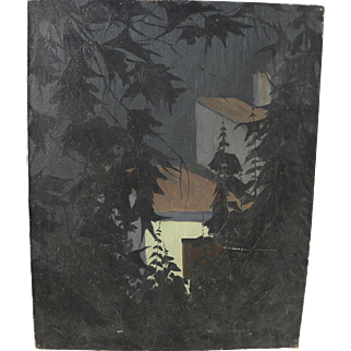American 1924 modernist painting signed Sanita