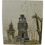 Indonesian art oil on panel painting of ancient temple ruins