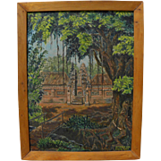 Indonesian art vintage signed 1963 impressionist painting of ancient temple in tropical forest