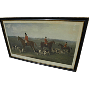 Large fine English mid 19th century fox hunt print engraving after Edward Robert Smythe
