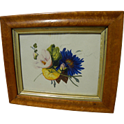 English or American mid 19th century watercolor painting of flowers, in birdseye maple frame