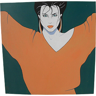Style of Patrick Nagel contemporary painting of a young woman