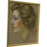 Fine vintage pastel portrait of a lady signed Carles