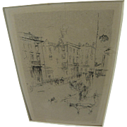 "JAMES MCNEILL WHISTLER (1834-1903) original etching ""Alderney Street"" 1881"