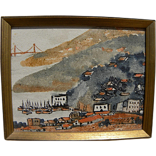JAMES YEH-JAU LIU (1910-2003) painting of Tiburon California by noted Marin County artist
