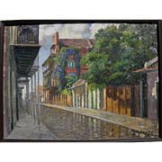 THERESE DARCHE (1892-1976) impressionist painting of New Orleans French Quarter by listed artist