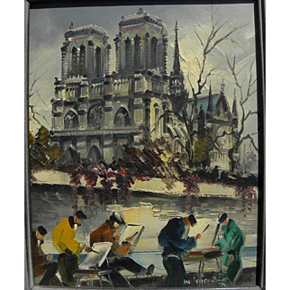 MAURICE LEGENDRE (1928-) French art impressionist painting of Notre Dame Cathedral in Paris