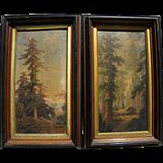LOUIS PRANG **pair** 1870's chromolithograph prints of California big trees