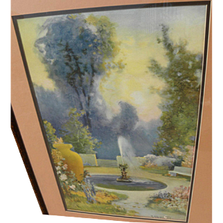 R. ATKINSON FOX (1860-1935) framed print of garden fountain by the famous illustrator artist