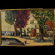 Impressionist painting of New England coastal village signed B. G. DORSEY