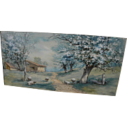 Nineteenth century American watercolor spring landscape with sheep signed with initials