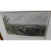 """ASA COOLIDGE WARREN (1819-1904) hand colored engraving """"City of Providence"""" 1872"""