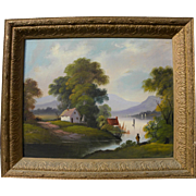Hudson River School folk art naive landscape painting