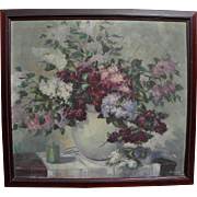 Vintage American impressionist art floral still life signed painting