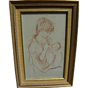 MAXIM BUGZESTER (1910-1978) fine drawing of mother and child by listed artist