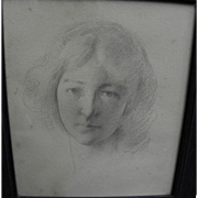 "JOSEPH R. DeCAMP (1858-1923) fine pencil portrait drawing of young woman by major ""Boston School"" artist"