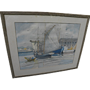 CHARLES E. PONT (1898-1971) marine watercolor sail boat at New England dock by well known illustrator artist