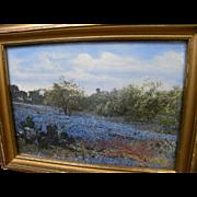 Texas bluebonnet landscape hand colored vintage photograph
