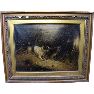 EDWARD ARMFIELD (1817-1896) painting of terriers ratting by famous English dog artist