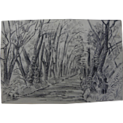 "ISOLDE THERESE GILBERT (1907-1986) vintage ink drawing ""Wooded Road"""