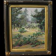 "IDA MAYNARD CURTIS (1860-1959) California impressionist plein air painting ""Pines at Carmel"""