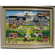 Naive contemporary Americana painting signed A. R. Abalos
