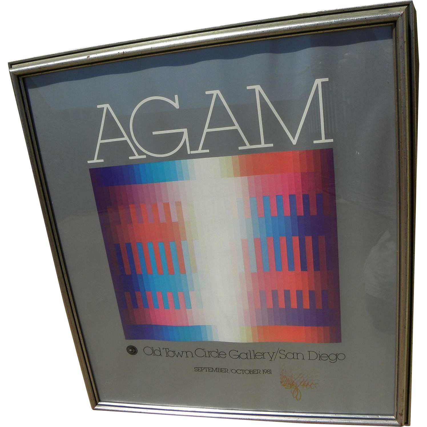 YAACOV AGAM (1928-) hand signed 1981 San Diego gallery poster by the Israeli Op Art master