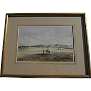 US Survey 19th century lithograph print of early western American scene