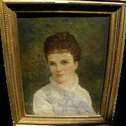 ROBERT BURNS-WILSON (1851-1916) rare Kentucky art circa 1870's portrait of young woman
