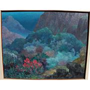 BEN CARRE (1883-1978) California impressionist mountain landscape painting by noted stage set designer and Hollywood studio artist
