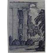 "DORIS ALEXANDER (THOMPSON) (1906-1995) scarce lithograph ""Capitol Vista, Montgomery"" by noted Alabama artist"