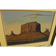 ARTHUR C. BEGAY SR. (1932-2010) original gouache Monument Valley landscape by noted Navajo artist