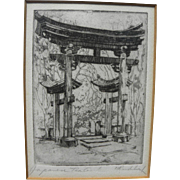"HARRIET GENE ROUDEBUSH (1908-1998) pencil signed etching ""Japanese Tea Garden"" by listed San Francisco artist"