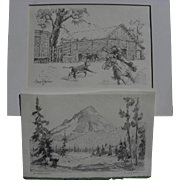 CLAUDE P. PARSONS (1895-1972) **pair** pencil drawings by western American artist