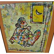 Contemporary Asian art Indian modern drawing of mother and child