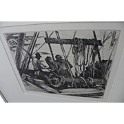 ARMIN HANSEN (1886-1957) rare posthumous only 1993 impression of 1924 etching by the major California artist