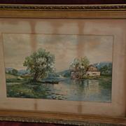 EDMUND DARCH LEWIS (1835-1910) American art watercolor large landscape painting