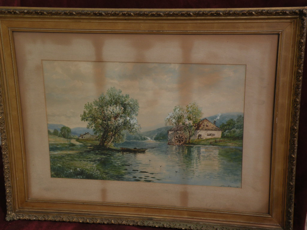 EDMUND DARCH LEWIS (1835-1910) American art watercolor large landscape painting
