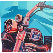 Contemporary painting of a motorcycle in Pop Art style