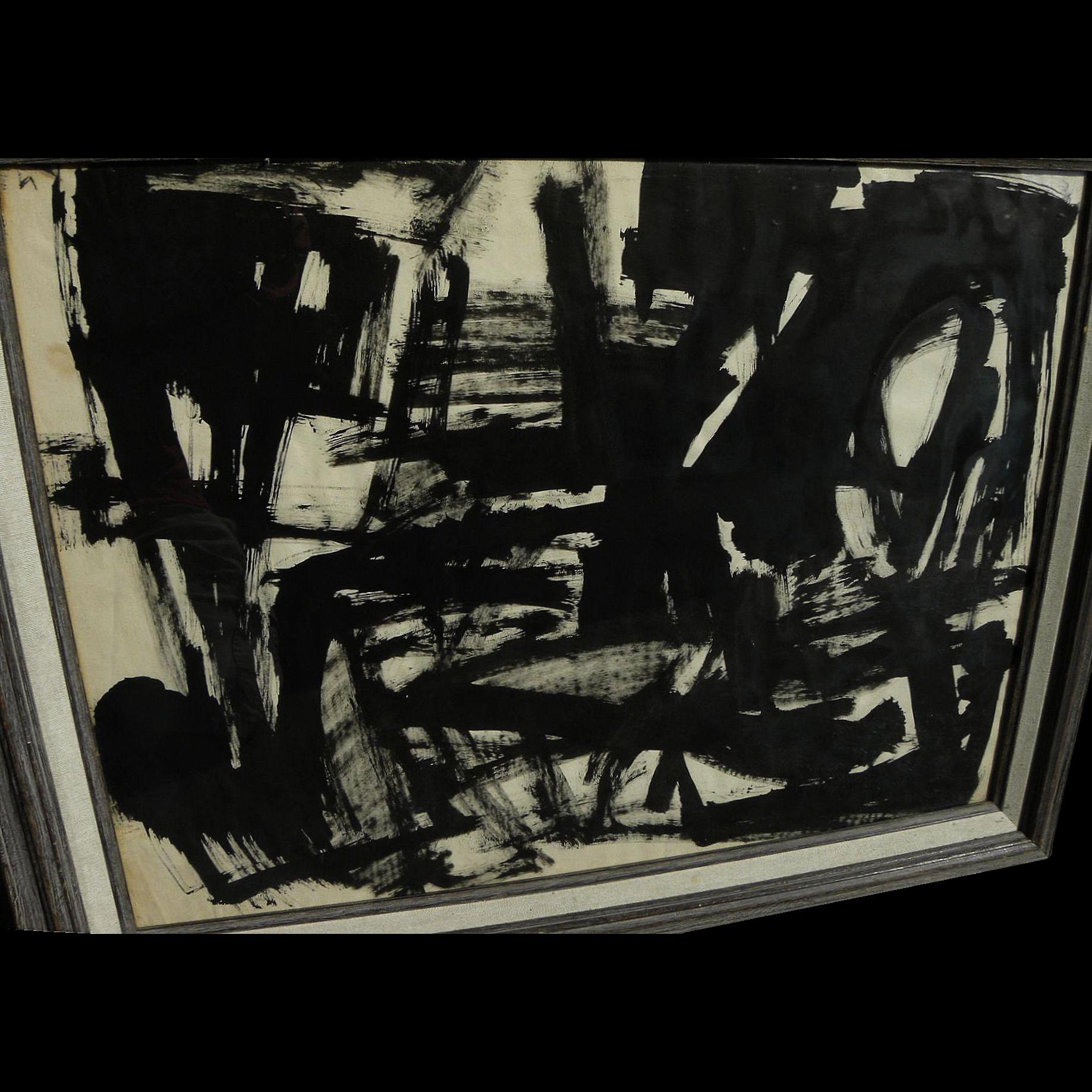 EUGENIO DE BERNARD-KURAKIN (1918-) dramatic black and white abstract watercolor by Spanish-born Santa Fe artist