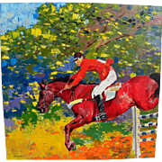 SUN LIREN (1941-) impressionist painting of horse in equestrian event by noted Chinese contemporary artist