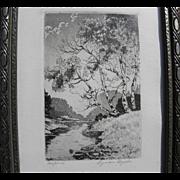 "LYMAN BYXBE (1986-1980) vintage Colorado etching print ""Aspens"""