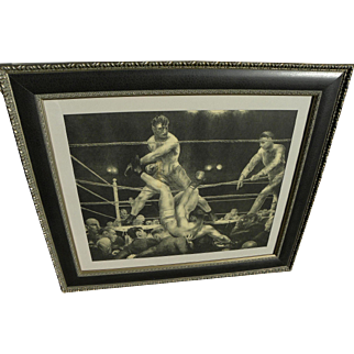 "GEORGE BELLOWS (1882-1925) famous boxing subject lithograph print ""Dempsey and Firpo"" by highly important American artist"