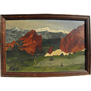 Colorado art signed 1924 naive painting of Garden of the Gods near Colorado Springs